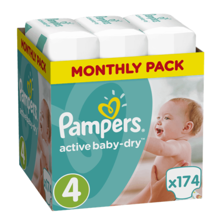 Πάνες Ρampers Active baby dry Monthly Νο4 174τεμ (8-14 kg)