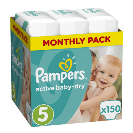 Πάνες Ρampers Active baby dry Monthly Pack Νο5 150 τεμ