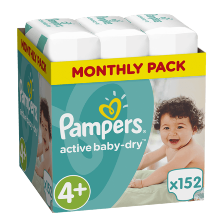 Πάνες Ρampers Active baby dry Monthly Pack Νο4+152 τεμ