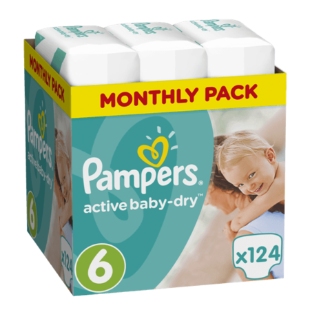 Πάνες Ρampers Active baby Monthly Pack Νο6 (15+kg)