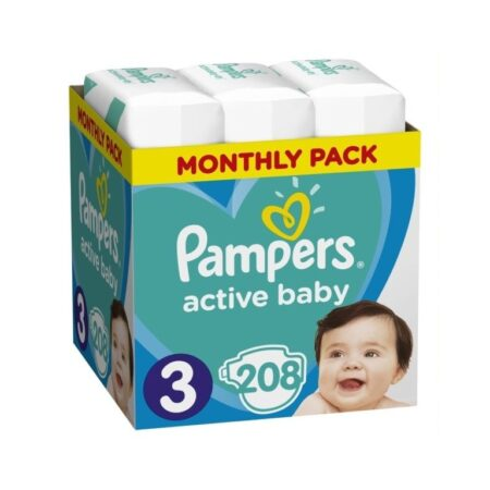 Πάνες Ρampers Active baby Monthly Pack Νο3 208 τεμ.