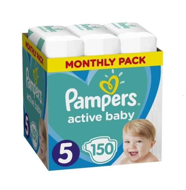 Πάνες Ρampers Active baby Monthly Pack Νο5 150 τεμ (11-16 kg)