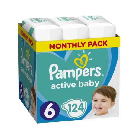 Πάνες Ρampers Active baby Monthly Pack Νο6 (15+kg) 124 τεμ.