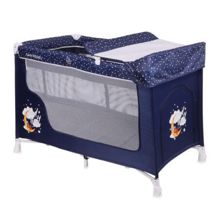 Παρκοκρέβατο δυο θέσεων Lorelli San Remo 2 Layers Blue Good Night Bear 10080071804