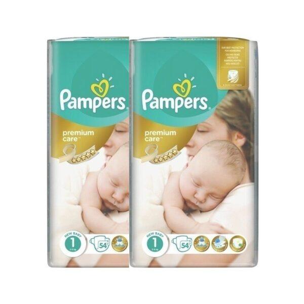Πάνες Pampers premium care New baby 108τμχ. (2x54) Νο1 (2-5kg)