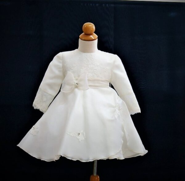 Βαφτιστικό Φόρεμα μακρύ μανίκι με καπέλο 100220