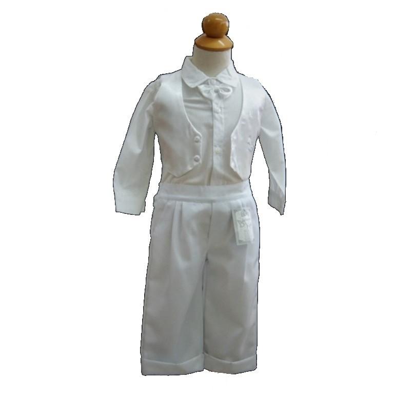 e6975aa7987 Βαφτιστικό Σετ Λευκό Σατέν γιλέκο για αγοράκια 6-10 μηνών