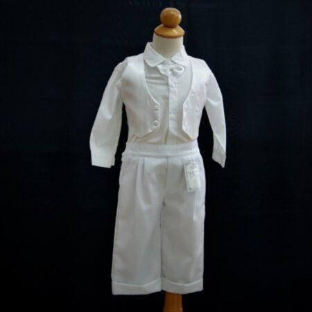 Βαφτιστικό Σετ Λευκό Σατέν γιλέκο για αγοράκια 6-10 μηνών