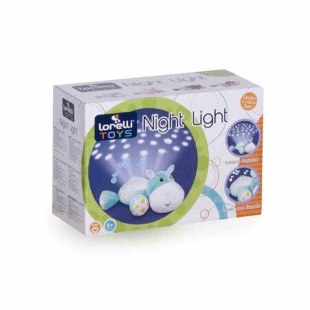 Φωτιστικό νυκτός, παιχνίδι με φώτα και μουσική Lorelli Night Light Hippo 10280140001