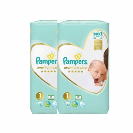 Πάνες Pampers premium care New baby 104τμχ. (2x52) Νο1 (2-5kg)