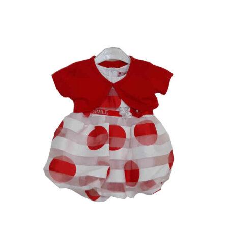 Φόρεμα με Μπολερό Λευκό-Κόκκινο 12-36 Μηνών