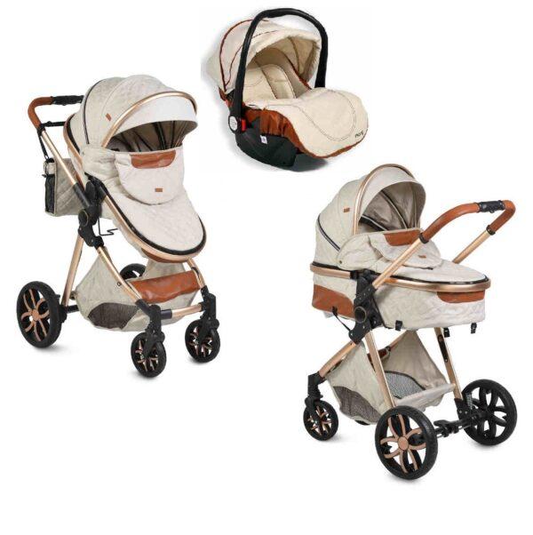 Πολυκαρότσι με κάθισμα αυτοκινήτου Cangaroo Alma Beige 3800146235451set