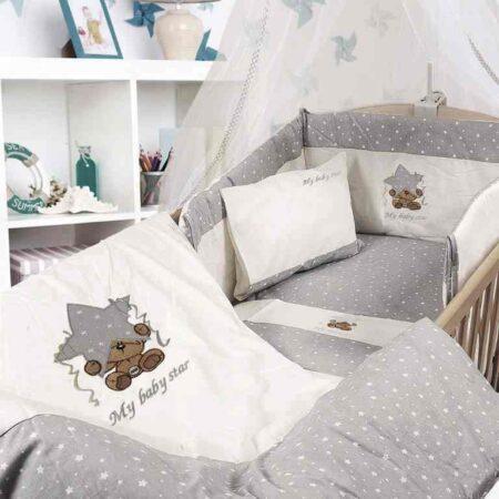 Σετ Προικα μωρού με σετ σεντόνια 7 τεμ. Dim Collection 124 White-Grey Star