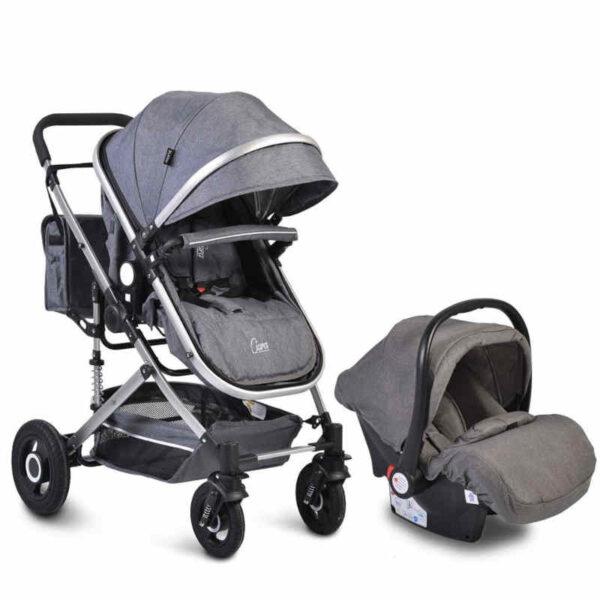 Πολυκαρότσι με κάθισμα αυτοκινήτου 3 σε 1 Moni Ciara Grey 3800146235178set