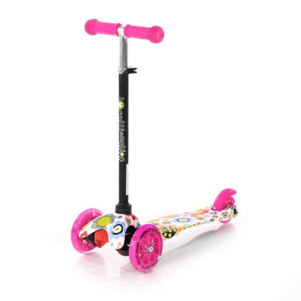 Πατίνι με φωτάκια στις ρόδες Lorelli Scooter Mini Pink Flowers 10390010001